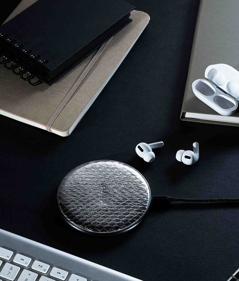 Wireless Charger Metallic Snakeskin Leather