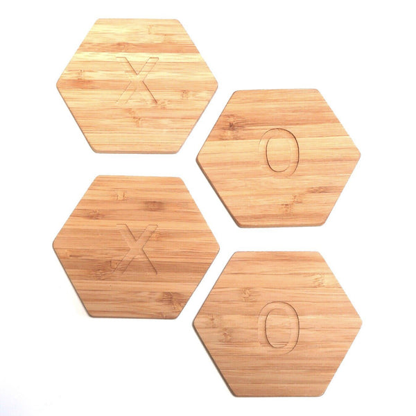 XOXO Hexagon Bamboo Coasters