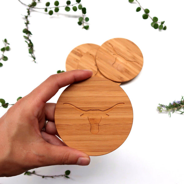 Wooden Bull Coasters - variantspaces.com