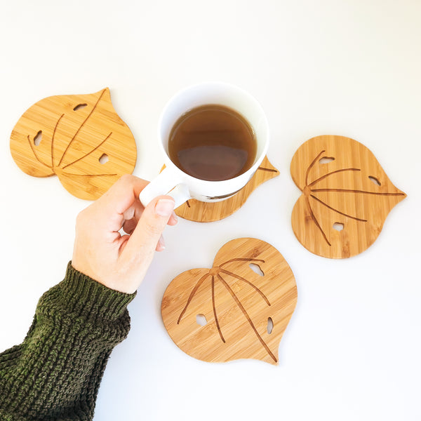 Kawakawa Leaf Coasters - Set of 4.