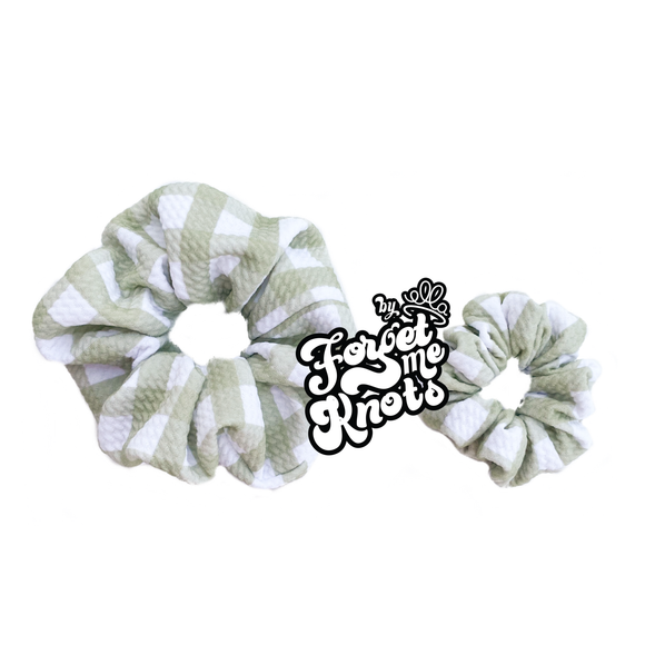 Green Gingham Scrunchies