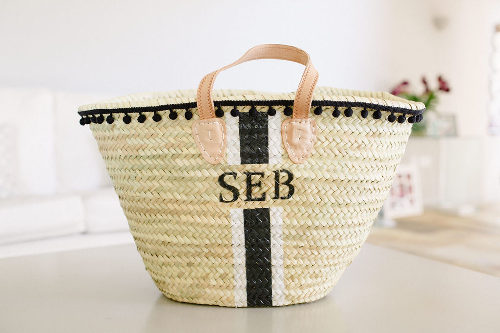 The Millie Basket/White & Black pom pom trim
