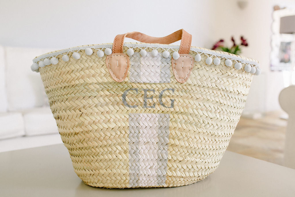 The Millie Basket /grey, pink, pom pom trim