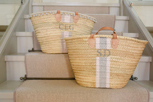 The Millie Basket / pink and grey