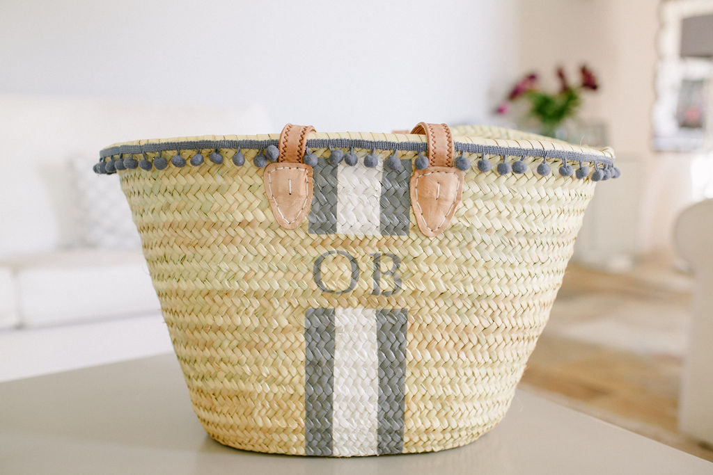 The Millie Basket /grey & white, pom pom trim