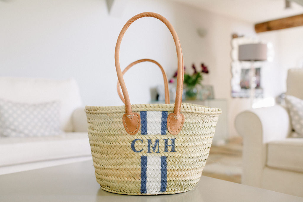 The Hattie Basket / white & blue - Sold Out