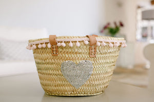 The Livvy Mini Me Basket/ pink pom pom