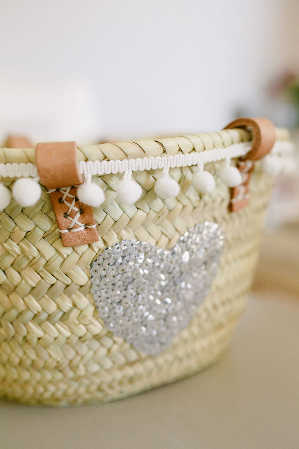 The Livvy Mini Me Basket white pom pom
