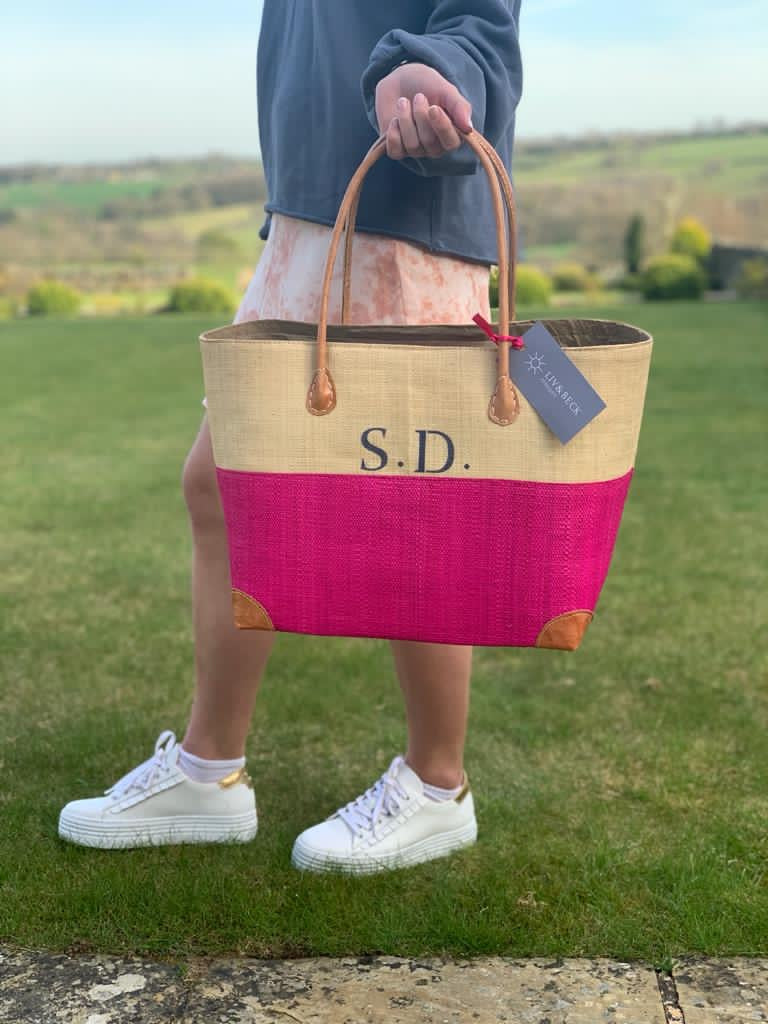 The MINI Rebecca Canvas/Leather Basket/Pink