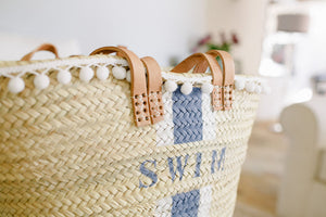 The Millie Double Handled Basket (Navy & White with White Pom Pom Trim)
