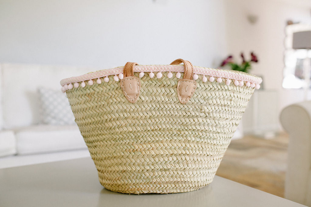 The Millie Basket - (Classic Baby Pink Pom Poms and French Grey Text)