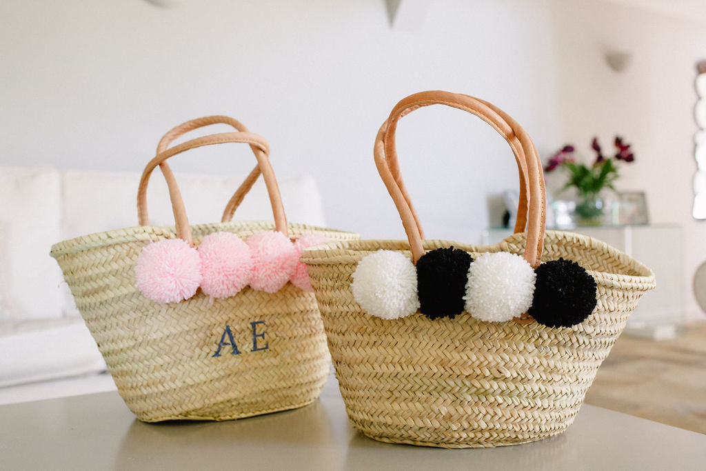 The Hattie Basket/ black wool pom pom