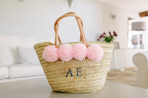The Hattie Basket/ baby pink wool pom pom