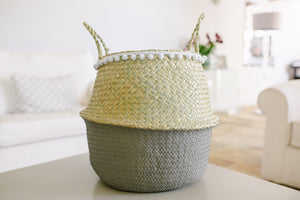 The MUMMY Belly Basket French Grey with a pom pom trim