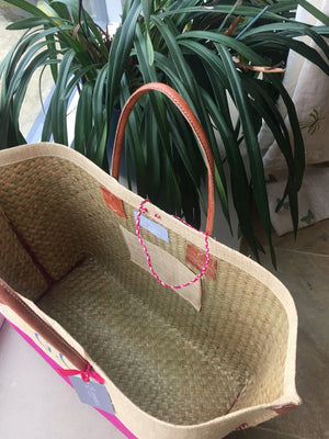 NEW The Rebecca Canvas/Leather Basket in PINK!!
