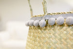 The DADDY Belly Basket Natural with a pom pom trim
