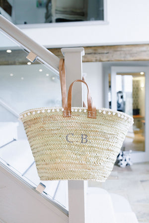 The Millie Double Handled Basket   (French Grey with White Pom Pom Trim)