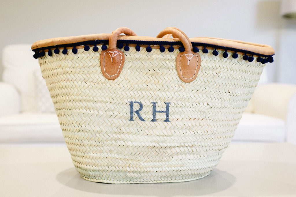 The Rebecca Basket leather trim