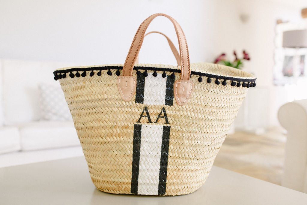 The Millie Basket / Black and White, pom pom trim