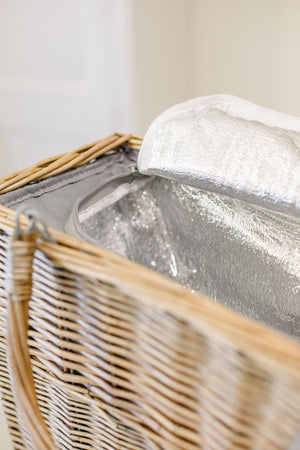 NEW! Grey Cooler Basket and Picnic Blanket
