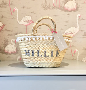 The Livvy Mini Me Basket pink pom pom trim (now with leather handles)