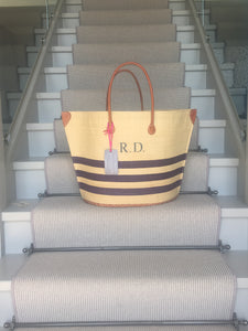 The Rebecca Canvas/Leather Basket in Blue Stripe