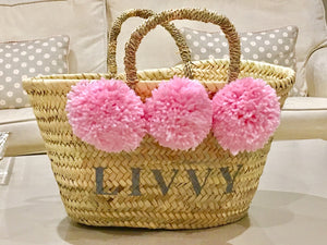 The Livvy Lou/ pink pom poms (Now with leather handles)