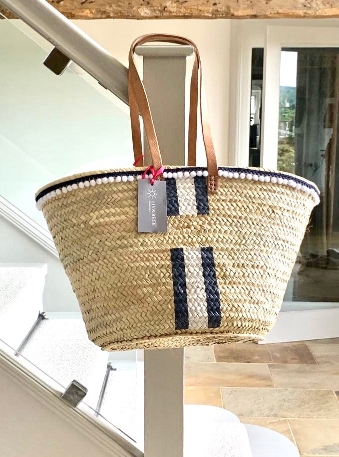 The Millie Basket with 'Long' Handles (White & Blue Paint and Pom Poms)