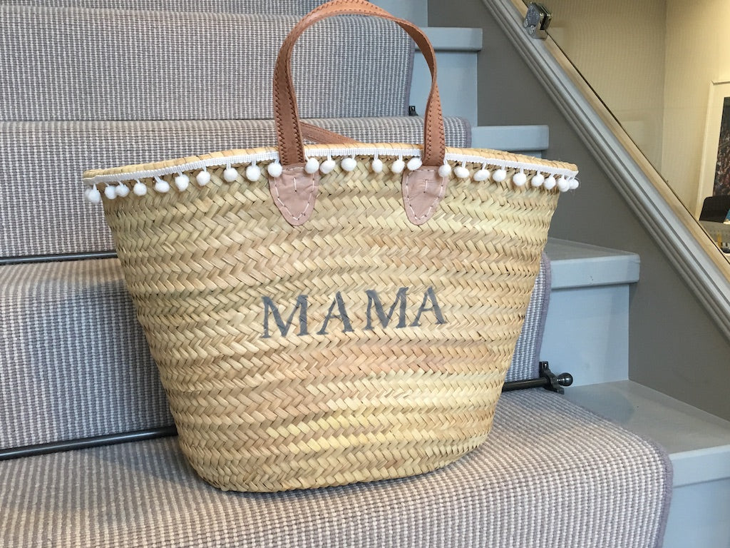 The Millie Basket - (French Grey and white Pom Poms)