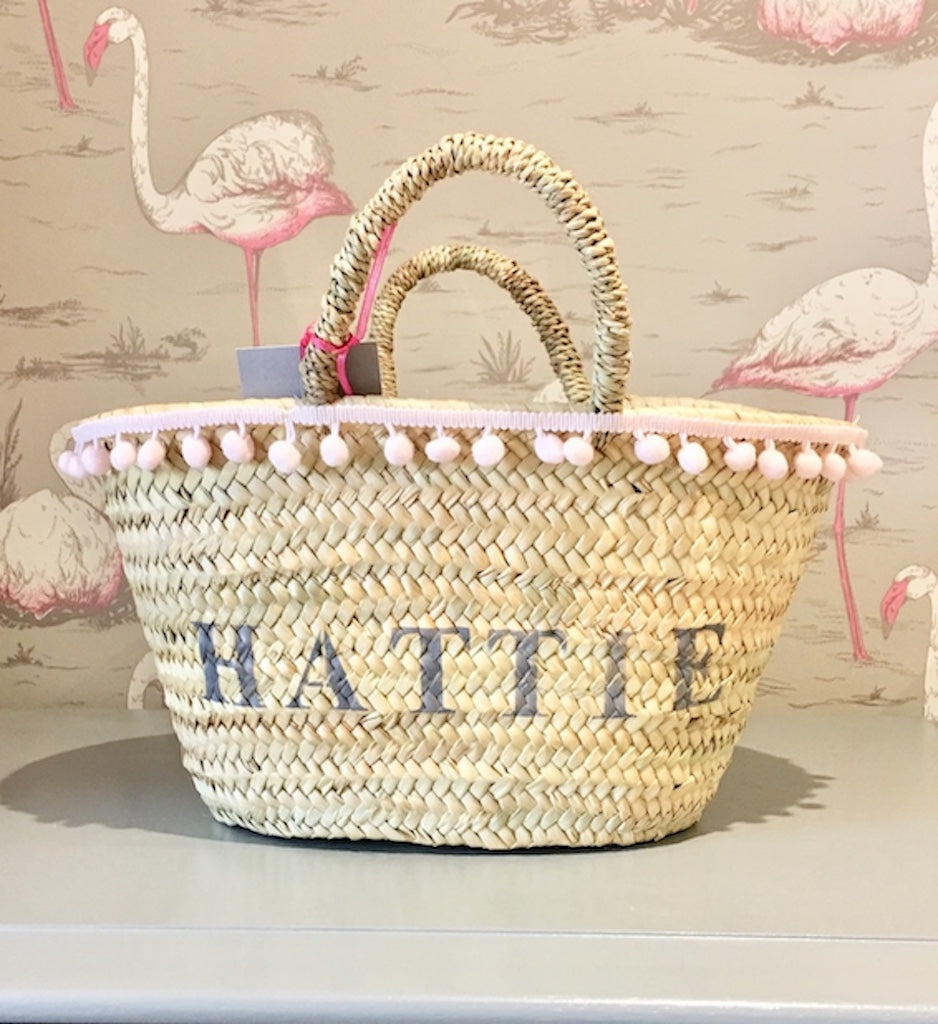 The Livvy Mini Me Basket pink pom pom trim