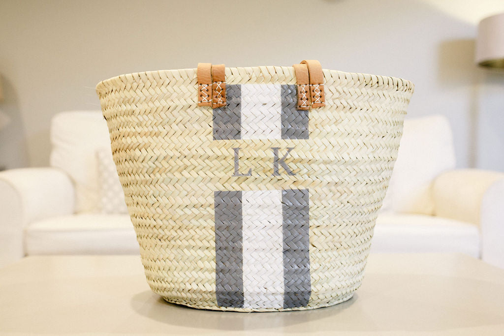 The Millie Double Handled Basket (Grey and White)