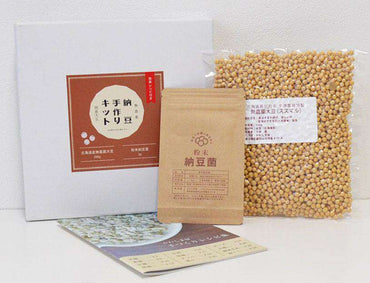 Organic Handmade Natto Kit (Powdered Natto Starter Spores 3gr + Hokkaido Organic Soybean 500gr Set)