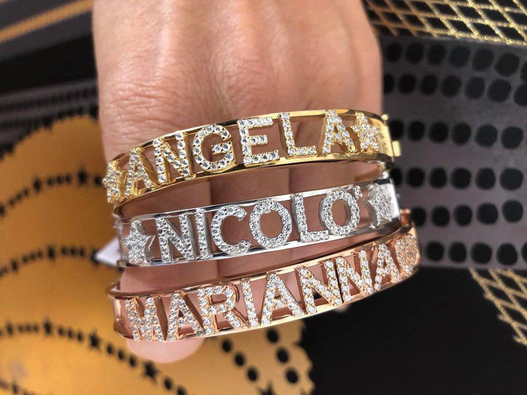BRACCIALE GOLD LIGHT 925 CON NOME E STELLE.