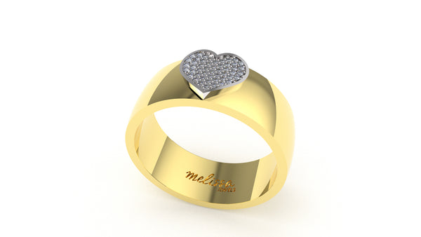 ANELLO FASCIA TRUE LOVE CON CUORE IN ORO 18 KT E DIAMANTI NATURALI.