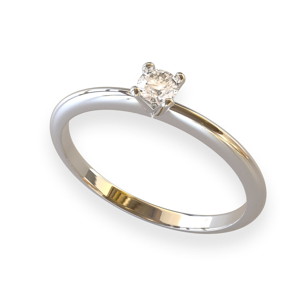 ANELLO SOLITARIO IN ORO BIANCO 18 KT CON DIAMANTE NATURALE CT. 0.10