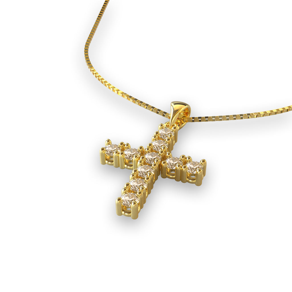 CROCE IN ORO 18 KT E DIAMANTI NATURALI CT. 0,20 F/G VS1