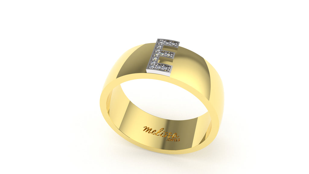 ANELLO FASCIA TRUE LOVE CON INIZIALI IN ORO 18 KT E DIAMANTI NATURALI. - E