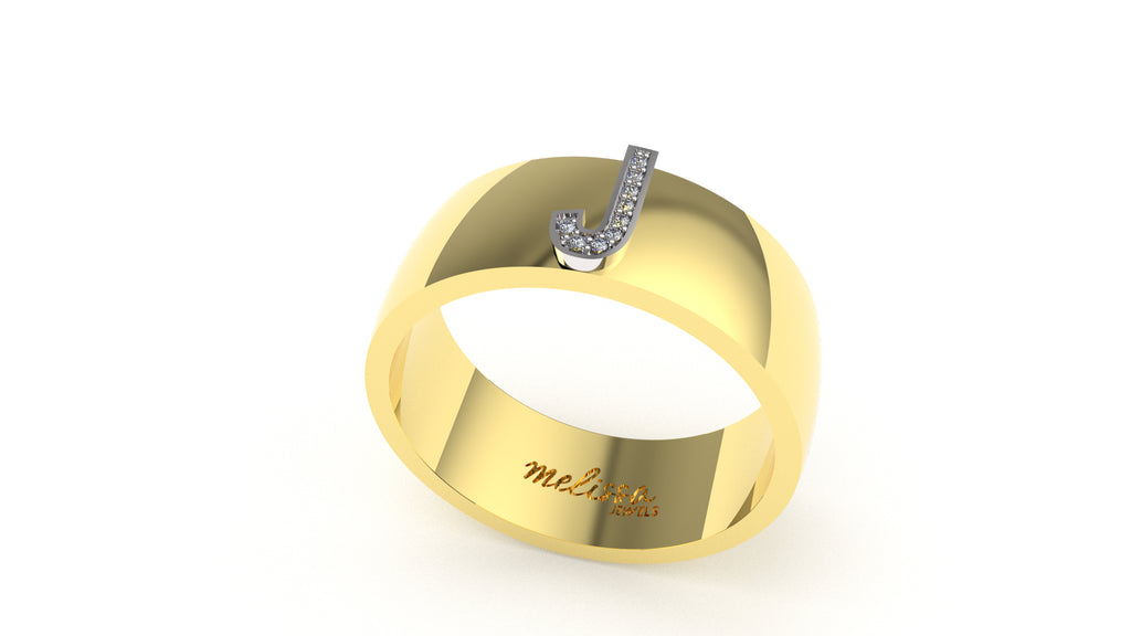 ANELLO FASCIA TRUE LOVE CON INIZIALI IN ORO 18 KT E DIAMANTI NATURALI. - J