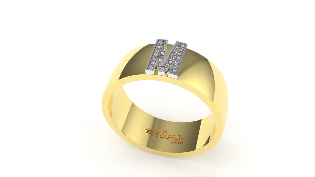 ANELLO FASCIA TRUE LOVE CON INIZIALI IN ORO 18 KT E DIAMANTI NATURALI. - M