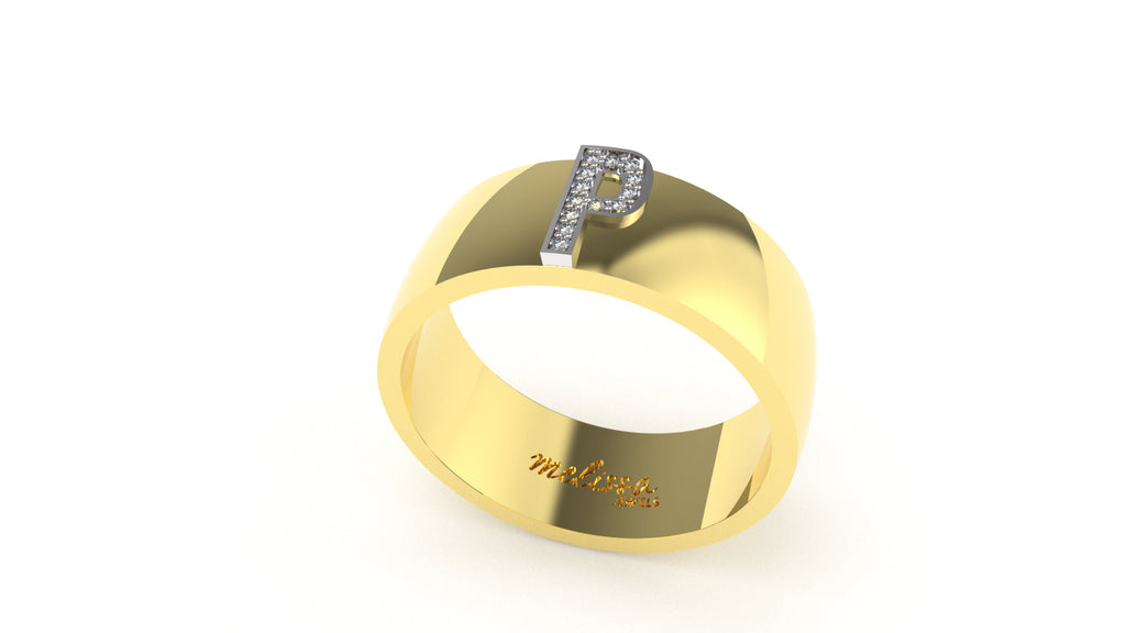 ANELLO FASCIA TRUE LOVE CON INIZIALI IN ORO 18 KT E DIAMANTI NATURALI. - P