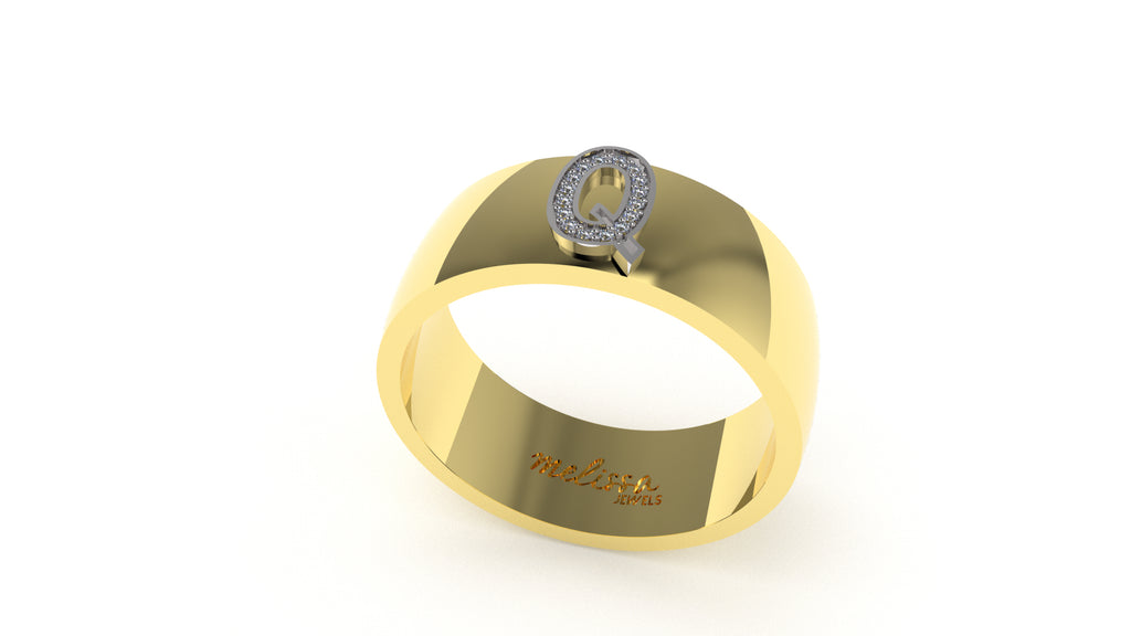 ANELLO FASCIA TRUE LOVE CON INIZIALI IN ORO 18 KT E DIAMANTI NATURALI. - Q