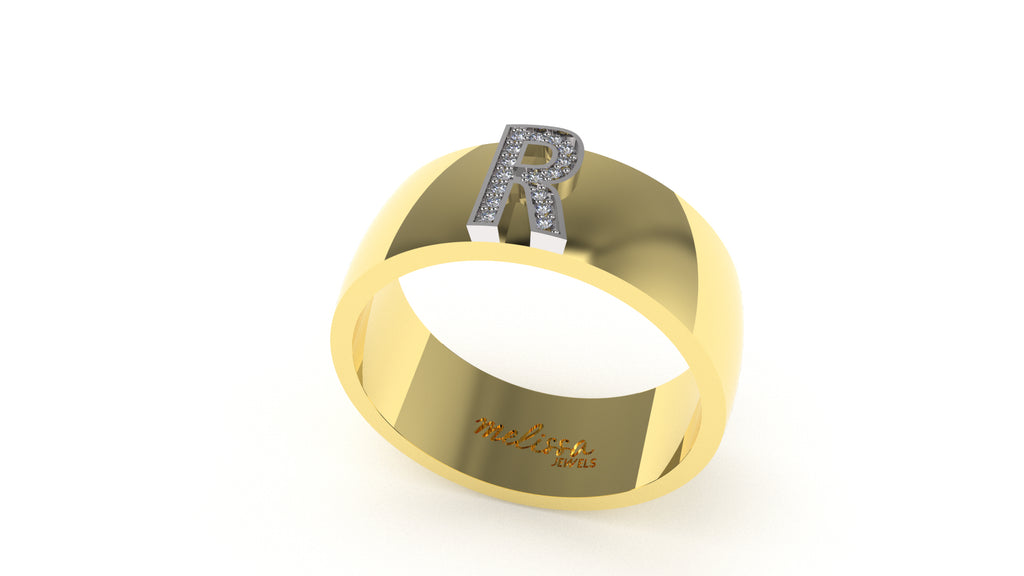 ANELLO FASCIA TRUE LOVE CON INIZIALI IN ORO 18 KT E DIAMANTI NATURALI. - R