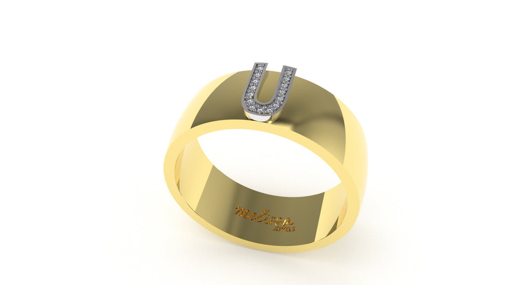 ANELLO FASCIA TRUE LOVE CON INIZIALI IN ORO 18 KT E DIAMANTI NATURALI. - U