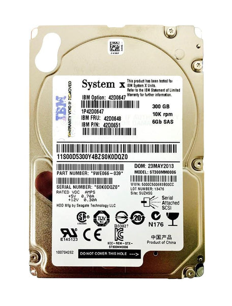 IBM 300GB 10K 6Gbps SAS 2.5 Hard Drive (42D0648)