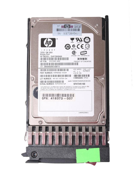 HP 72GB 15K SFF Sp SAS 2.5 Single-Port Hard Drive (431930-002)