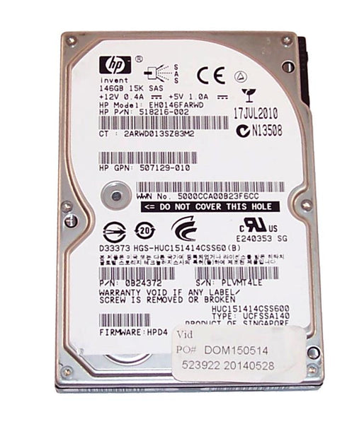 HP 146GB 15K SAS 6Gbp 2.5 Hard Drive (518216-002)
