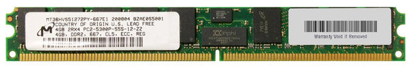 4GB (1X4Gb) PC2-5300P 2Rx4 Vlp ECC Registered Memory (MT36HVS51272PY-667E1)