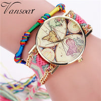 Vansvar Brand Handmade Braided World Map Friendship Bracelet Watch Rope Ladies Quarzt Watches Relogio Feminino 2040
