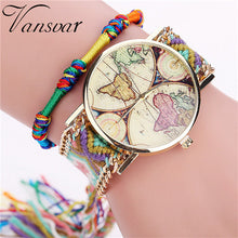Load image into Gallery viewer, Vansvar Brand Handmade Braided World Map Friendship Bracelet Watch Rope Ladies Quarzt Watches Relogio Feminino 2040