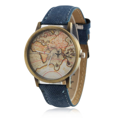 2018 Cowboy strap Map Watch By Plane Watches Women Men Denim Fabric Quartz Watch 7 color sports watches free shipping